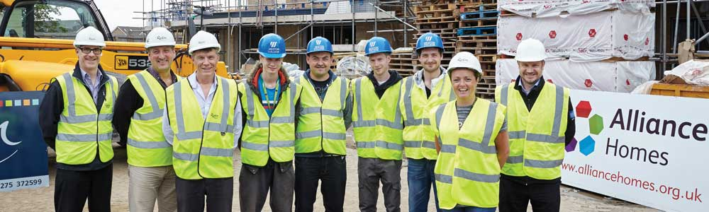 Construction Academy staff and students on site at Tamar Court